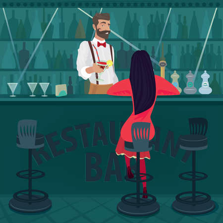 rupture: Young and lonely girl in red with her hair loose sits in an empty bar. Fashionable and beautiful bartender offers cocktail. Parting or rupture of relations concept Illustration