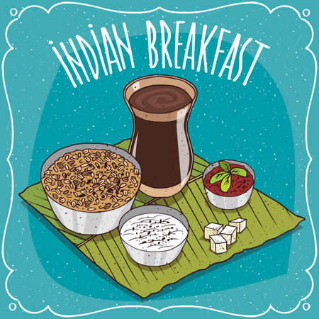 Traditional breakfast, food of Indian cuisine, muesli or oatmeal with spicy sauce and curd cheese, on banana leaf plate and masala chai tea. Hand drawn comic style Illustration