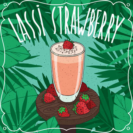 Strawberry Lassi, Indian drink with fresh juice, on wooden table with whole ripe berries. Natural background. Realistic hand draw style. Lettering Lassi Strawberry Illustration