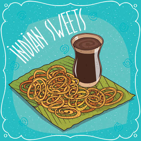 Traditional food, popular sweets of Indian cuisine, deep frying pretzel known as Jalebi or Zulbia, on banana leaf plate and masala chai tea. Hand drawn comic style Illustration