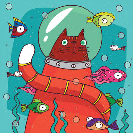 Funny cat with tail in diving suit is sitting on the bottom of lake or aquarium and looks in amazement at the various fish floating around. Hand drawn in comic style