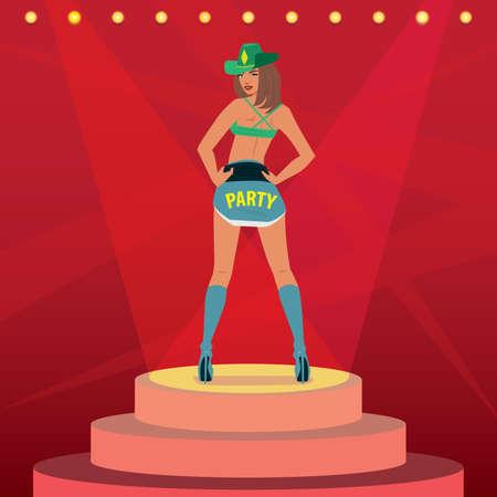 Chica atractiva en traje sexy y sombrero de vaquero, bailando en el escenario. Luz desde todos los lados y fondo rojo, vista desde atrás. Despedida de soltero o despedida de soltero