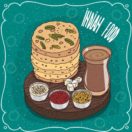 Traditional food, dish of Indian cuisine, pile of flatbread Roti, Naan, Chapati, Papadum or Paratha with sauces, on wooden plate and masala chai. Hand drawn comic style Illustration