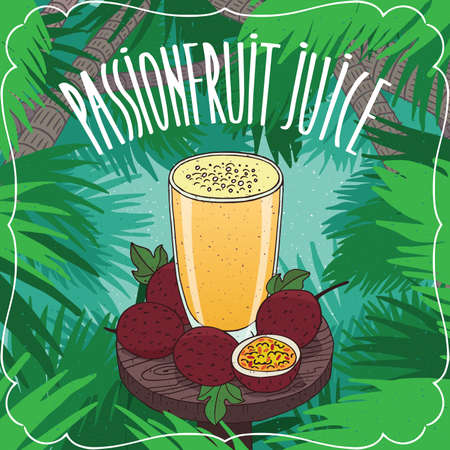 Fresh passion fruit juice in glass on wooden table with ripe fruits, whole and slices. Tropical background. Realistic hand draw style. Lettering Passionfruit Juice