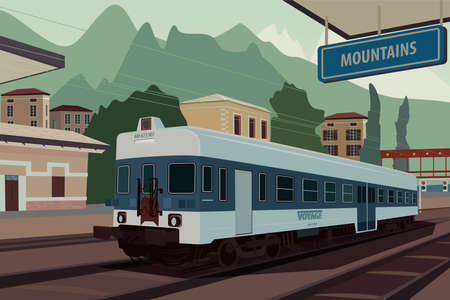 Scenic area with old retro train at railway station of European village. In the background the natural mountain landscape view. Realistic flat style Illustration
