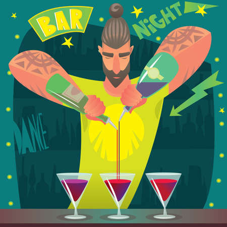 Fashionable young bartender with long gathered hair in bright shirt preparing cocktails, deftly pouring simultaneously from two bottles. Around, in the bar, light music