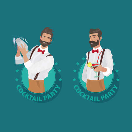 viewer: Set of emblems Cocktail Party. Cheerful and mustachioed bartender hipster with suspenders and red bow tie prepares cocktail and offers it to the viewer