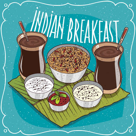 Traditional breakfast for two persons, food of Indian cuisine, muesli or oatmeal with spicy sauce and curd cheese and masala chai tea. Hand drawn comic style