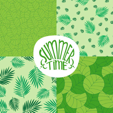 ornamentations: Set of seamless green summer backgrounds patterns with foliage plants or leaves. Realistic hand draw style. Emblem with lettering Summer Time Illustration
