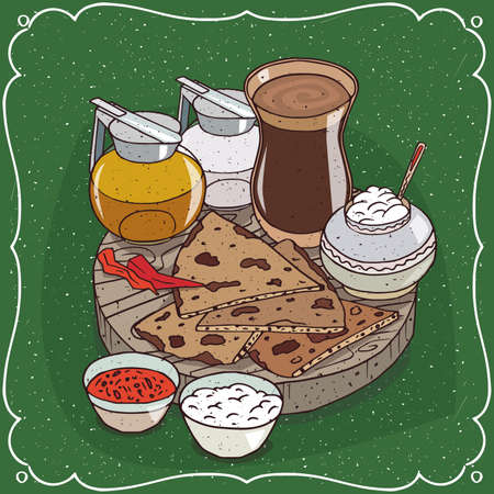 Traditional food of Indian cuisine, pieces of flatbread with sauces and curd cheese, on wooden plate and masala chai tea with jug honey and milk. Hand drawn comic style