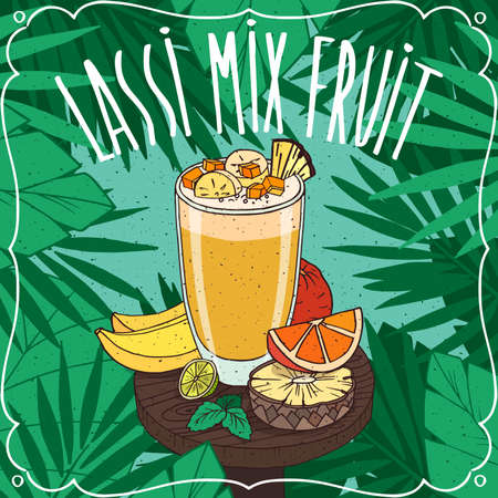 Multifruit Lassi, Indian drink with fresh juices, on wooden table with ripe different fruits. Natural background. Realistic hand draw style. Lettering Lassi Mix Fruit