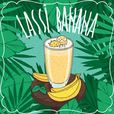 Banana Lassi, Indian drink with fresh juice, on wooden table with ripe whole fruits. Natural background. Realistic hand draw style. Lettering Lassi Banana