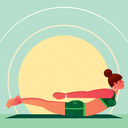untruth: Sporty girl lies in the Locust Pose or Salabhasana, against the background of the sun, in flat cartoon style. Yoga or Pilates concept. Side view Illustration
