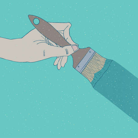 Man or woman hand holding paint brush. Painting of the surface or wall concept. Hand drawn style with grunge texture. Cyan background