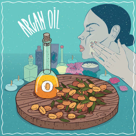 Glass Decanter of Argan oil and fruits of Argania spinosa plant. Girl applying facial mask on face. Natural vegetable oil used for skin care Illustration