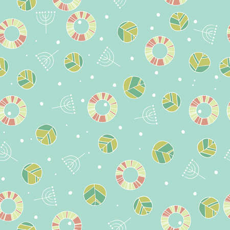 Seamless nature pattern with cute leaves in blue color. Modern foliage background with twigs in chaotic manner. Flat hand draw style Иллюстрация