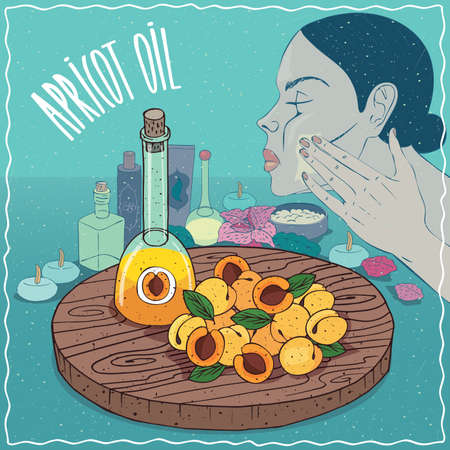 decanter: Glass Decanter of Apricot oil and fruits and kernel seeds of Prunus armeniaca plant. Girl applying facial mask on face. Natural vegetable oil used for skin care Illustration