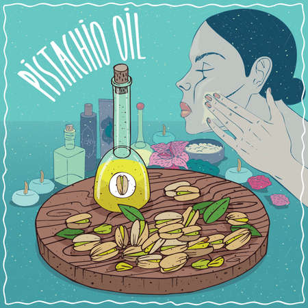 decanter: Glass Decanter of Pistachio oil and seeds of Pistacia vera plant. Girl applying facial mask on face. Natural vegetable oil used for skin care