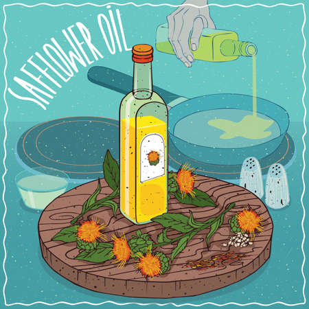 Glass bottle of Safflower seed oil and flowers of Carthamus tinctorius plant. Hand pouring oil on frying pan. Natural vegetable oil used for frying food Illustration