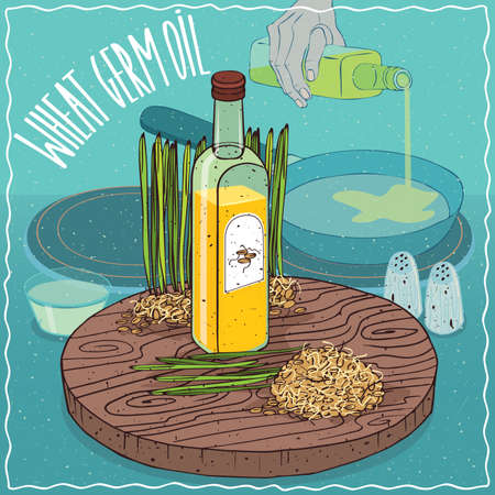 raw materials: Glass bottle of Wheat germ oil and Cereal germs. Hand pouring oil on frying pan. Natural vegetable oil used for frying food