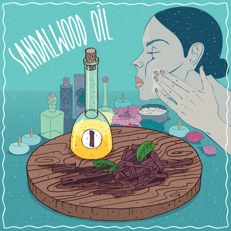 Glass Decanter of Sandalwood oil and chips and billets cut of Sandal plant. Girl applying facial mask on face. Natural vegetable oil used for skin care