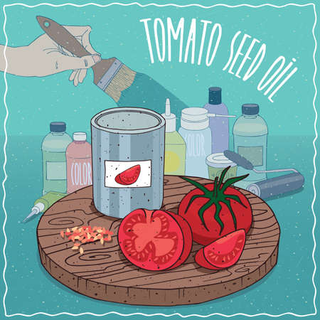 raw materials: Steel Paint Can of Tomato seed oil and fruits and seeds of Solanum lycopersicum plant. Hand holding paint brush. Natural vegetable oil used for paint manufacture Illustration