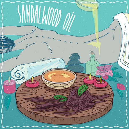 Wood Bowl of Sandalwood oil and chips and billets cut of Sandal plant. Oil flows on the back of the lying girl. Natural vegetable oil used for body massage