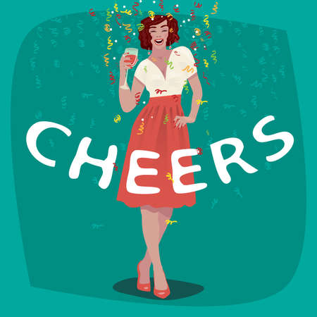 Attractive young girl in red skirt welcome and raise her glass. Beautiful woman toasting. Invitation concept. Lettering Cheers. Simplistic realistic cartoon art style.