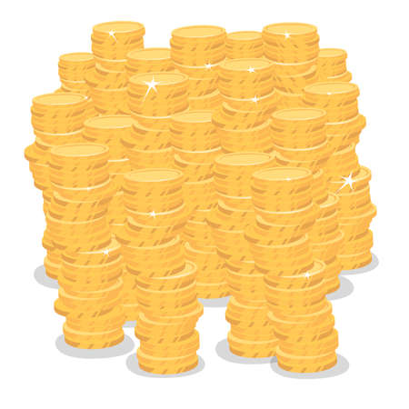 Lot of gold coins on white background. Isolate big pile of money. Many bunches of cash. Revenue or big profit concept. Simplified realistic cartoon style