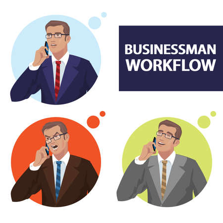 Set of businessmen talking on phone with different emotions, serious, angry, cheerful. Icons portraits of men in round frames. Simplistic realistic comic art style