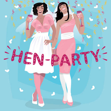 Couple of attractive young girls in pink wedding dresses welcome. Invitation to hen party or bachelorette party concept. Simplistic realistic cartoon art style