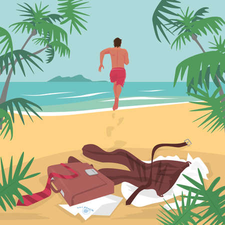 Young man running on beach to sea to swim, leaving office suit and briefcase on sand. Lettering Vacation. Freelance concept. Simplistic realistic comic art style