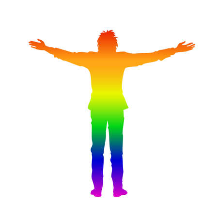Isolated rainbow silhouette of man with raised open arms outstretched, on white background. Front or back view. Contour outline style Illustration