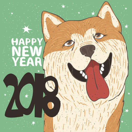 Funny portrait of smiling dog, breed Akita Inu, yellow color. Lettering 2018 Happy New Year. Zodiac sign of new year according to the Chinese calendar. Snow background