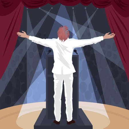 Artist, man in white suit standing on stage of theatre with raised open arms outstretched. In hall crowd of spectators. Back view. Simplistic realistic comic art style