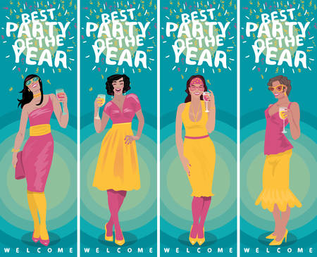 Set of vertical invitation templates with attractive young girls in bright dresses, welcome and raise their glasses and toasting. Simplistic realistic cartoon art style