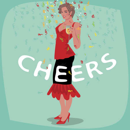 Attractive young girl in red dress welcome and raise her glass. Beautiful woman toasting. Invitation concept. Lettering Cheers. Simplistic realistic cartoon art style