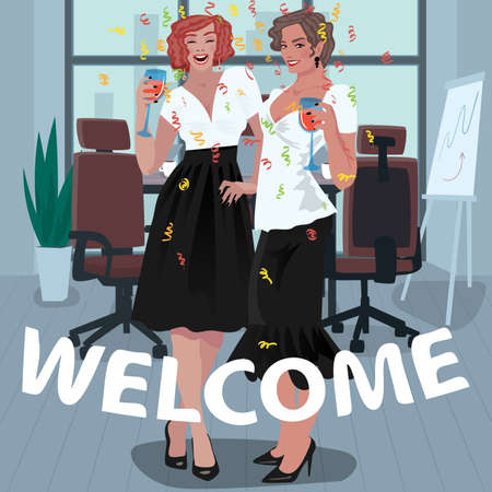 Two happy young girls dressed in dress code, office employees, are welcomed with glasses in their hands. First day on the job concept. Simplistic realistic art style. Illustration