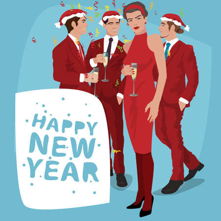 Several fashionable young men in Santa hats and women, in red suits are celebrating New Year holiday. Lettering Happy New Year. Simplistic realistic cartoon art style Illustration