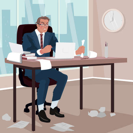 Furious businessman sitting in office. Around mess. Disgruntled man in business suit in workplace. Trouble or Problem concept. Ilustração