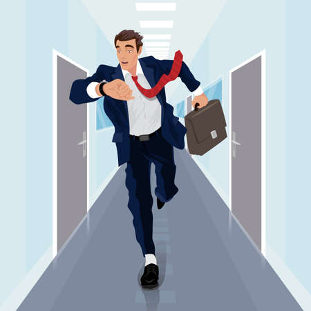 Young businessman or Manager runs forward along corridor and looks at watch on his arm. Front face view. Delay or Late concept. Simplistic realistic comic art style