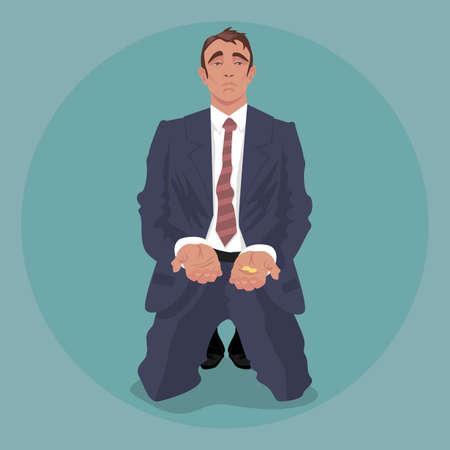 Imprenditore stanco o manager in completo accartocciato, in ginocchio e accattonaggio. Concetto di licenziamento o crisi. Semplicistico stile di arte comica realistico. Vista frontale Vettoriali