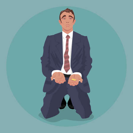 Tired businessman or manager in crumpled suit, kneeling and begging. Dismissal or crisis concept. Simplistic realistic comic art style. Front face view Vector Illustration