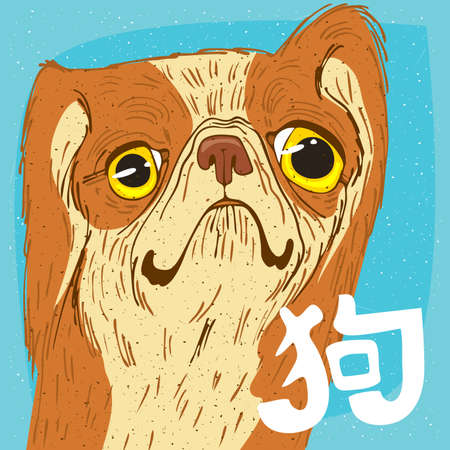 Funny portrait of cute dog, breed Pekingese or Peking Lion Dog, yellow color. The inscription in Chinese, meaning Dog. Chinese zodiac sign of 2018 new year.