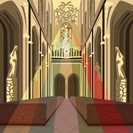 성당 교회 안에 아름 다운보기입니다. 가톨릭 성당 스테인드 글라스에서 여러 가지 빛깔의 태양 광선의 내부. 단순화 된 현실적인 손으로 그린 만화 스