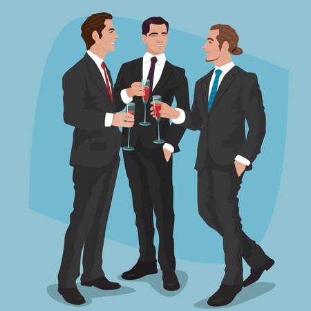 Drie modieuze mannen in zwarte pakken drinken cocktails of rode wijn. Mens partij concept. Vereenvoudigde realistische komische kunststijl.