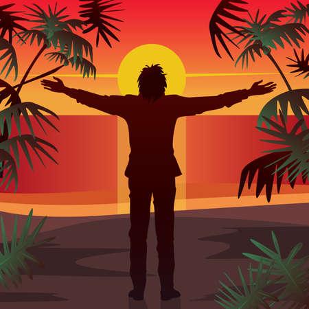 Jonge man staat bij zonsondergang, op het strand in de voorkant van de oceaan, met open armen gestrekt. Silhouet tegen ondergaande zon. Simplistische realistische komische kunststijl Stockfoto - 89615445