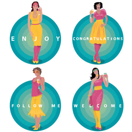 set of round invitation stickers with attractive young girls