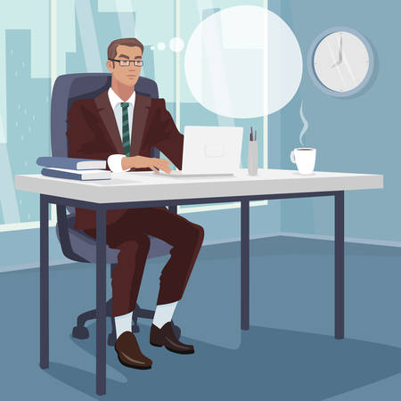 Serious businessman or manager concentrates working on white laptop, sitting in office with large window. Think bubble. Working day concept. Simplistic realistic style Ilustração