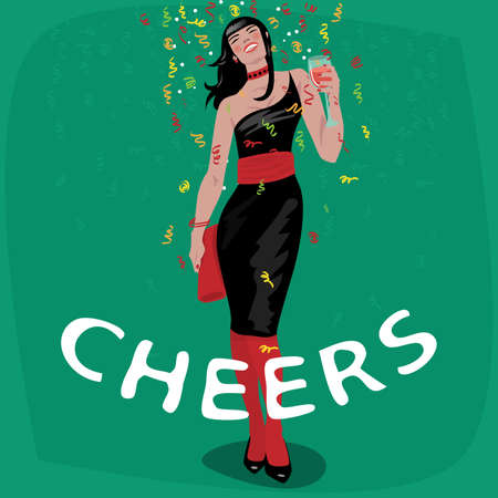 Attractive young girl in black dress welcome and raise her glass. Beautiful woman toasting. Invitation concept. Lettering Cheers. Simplistic realistic cartoon art style
